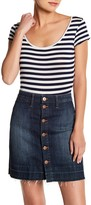 Velvet Torch Striped Short Sleeve Knit Bodysuit