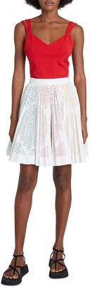 Alaia Mini Pleated Laser-Cut Skirt