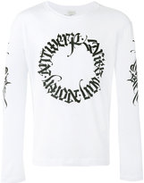 Dries Van Noten long sleeve top with tattoo calligraphy branded details