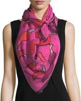 Anna Coroneo Silk Chiffon Square Chili Peppers Scarf, Pink