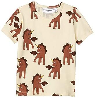 Mini Rodini Unicorns All Over Printed Short Sleeve Tee (Infant/Toddler/Little Kids/Big Kids) (Off-White) Girl's Clothing