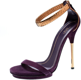 Gucci Purple Suede And Metallic Python Kelis Ankle Strap Sandals Size 41