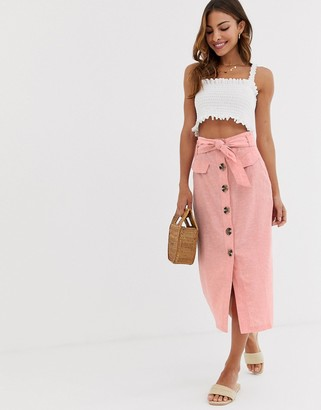 Stradivarius button front midi skirt with bow in pink