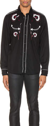 Nudie Jeans Stellan Western Flower Shirt in Black | FWRD