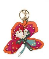 Valentino Tropical Flower Studded Leather Keychain