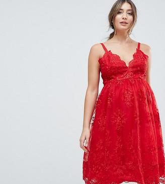 Chi Chi London Maternity Premium Scalloped Lace Midi Dress