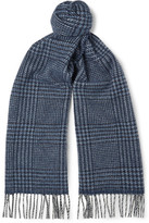 Drakes Drake's Fringed Prince Of Wales Checked Wool And Angora-blend Scarf