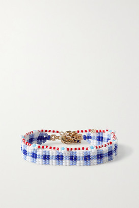 Roxanne Assoulin Gingham And Daisy Set Of Two Beaded Bracelets - Blue