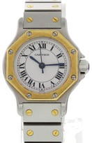 Cartier Santos 18K Yellow Gold & Stainless Steel White Dial Automatic 25mm Womens Watch