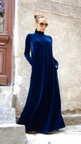 Etsy New Maxi Velvet Deep Royal Dress / Kaftan Dress / Side Pockets Dress / Extravagant Long Party Dress