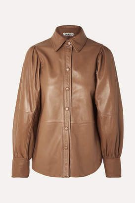 Ganni Leather Shirt - Beige