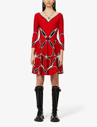 Alexander McQueen Woven-pattern stretch-woven mini dress