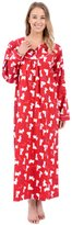 Patricia from Paris Women's Cotton Print Long Sleeve Flannel Nightgown (XL, )