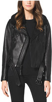 Michael Kors Fur-Collar Leather Jacket