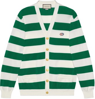 Gucci Striped knit cotton cardigan withGG