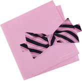 Tommy Hilfiger Men's Tri-Stripe Bow Tie & Solid Pocket Square Set