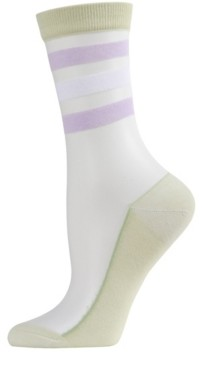Me Moi Reverse Terry Stripe Sheer Women's Crew Socks