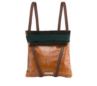 Maria Maleta Backpack Brown & Green Suede
