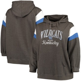 Women's Heathered Black Kentucky Wildcats Plus Size Oceanview Burnout Wash Pullover Hoodie