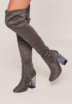 Missguided Grey Faux Suede Over The Knee Transparent Heeled Boots