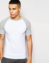 Asos Loungewear Muscle T-shirt With Stretch And Contrast Raglan Sleeves - White