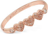 Betsey Johnson Rose Gold-Tone Triple Heart Pavé Bangle Bracelet