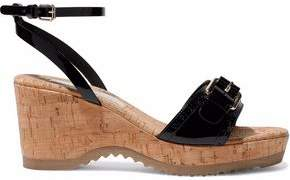 Stella McCartney Buckled Faux Patent-Leather And Cork Wedge Sandals