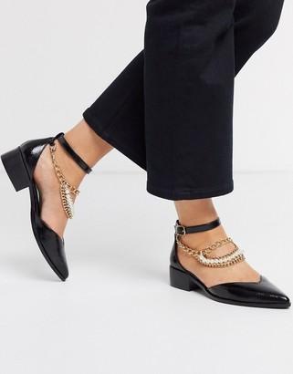 ASOS DESIGN Manual embellished anklet detail flat shoes in black