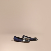 Burberry Buckle Detail House Check and Patent Leather Ballerinas
