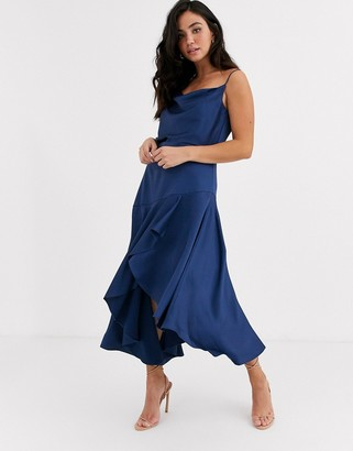Ever New satin cowl neck midi dress in midnight blue