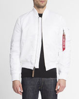 Alpha Industries White MA-1 Nylon Bomber Jacket