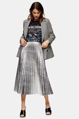 Topshop Silver Metallic PU Pleated Midi Skirt