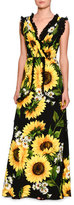 Dolce & Gabbana Sunflower Lace-Trim Sleeveless Gown, Black/Yellow