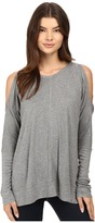 Heather Long Sleeve Peekaboo Shoulder Boxy Top