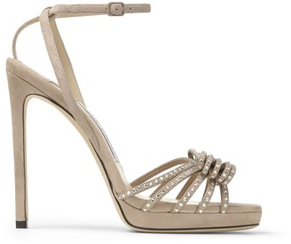 Jimmy Choo KAITE 120 Ballet-Pink and Silver Suede Platform Sandals with Crystal-Embellished Hotfix Bow