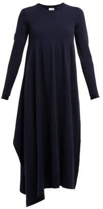 Barrie Asymmetric Side Slit Cashmere Midi Dress - Womens - Navy