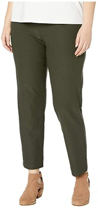Eileen Fisher Plus Size Washable Stretch Crepe Slim Ankle Pants (Woodland) Women's Casual Pants