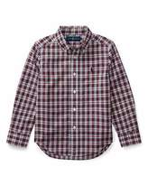 Ralph Lauren Poplin Plaid Button-Down Shirt, Red Pattern, Size 2-4