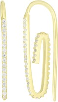 Sphera Milano 14K Yellow Gold Plated Sterling Silver Pave CZ Paperclip Earrings