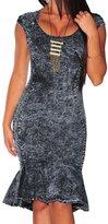 JYE Sexy Womens Denim Blue Sleeveless Dress Slim Wrap Fishtail Party Cocktail Dress