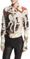 Awake Mr. Octopus Head Long-Sleeve Button-Front Shirt