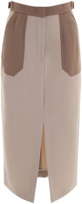 Fendi PENCIL SKIRT 42 Beige, Brown Wool