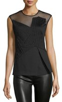 CNC Costume National Sleeveless Sheer-Inset Peplum Top, Black