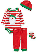 Starting Out Baby Boys Newborn-9 Months Christmas Santa Face 4-Piece Layette Set