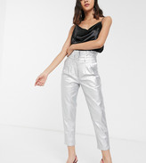 Glamorous high waisted pants in metallic faux leather