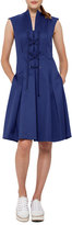 Akris Punto Lace-Up Stretch-Cotton Dress, Dark Blue
