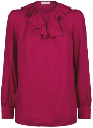 Sandro Silk Ruffle-Trim Blouse