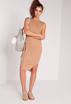 Missguided High Neck Curve Hem Ribbed Midi Bodycon Dress Camel