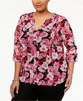 INC International Concepts Plus Size Floral-Print Blouse, Only at Macys