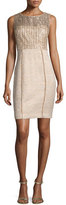 Kay Unger New York Sleeveless Sequined Tweed Sheath Dress
